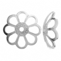 10 Sterling Silver 8mm Flower Bead Caps